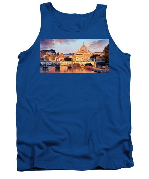 Tank Top featuring the mixed media Rome The Eternal City - Saint Peter From The Tiber by Rosario Piazza