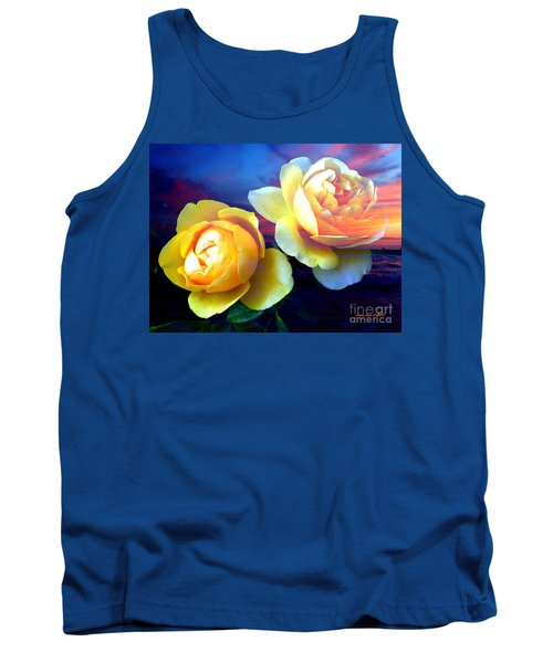 Roses Basking In A Ocean Sunset Tank Top by Annie Zeno