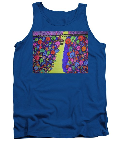 Tank Top featuring the drawing Sailing Along The Menominee Bay Shore. by Jonathon Hansen