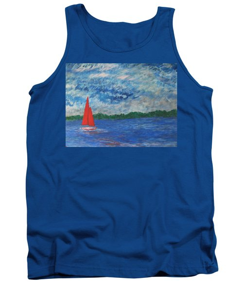 Tank Top featuring the painting Sailing The Wind by John Scates