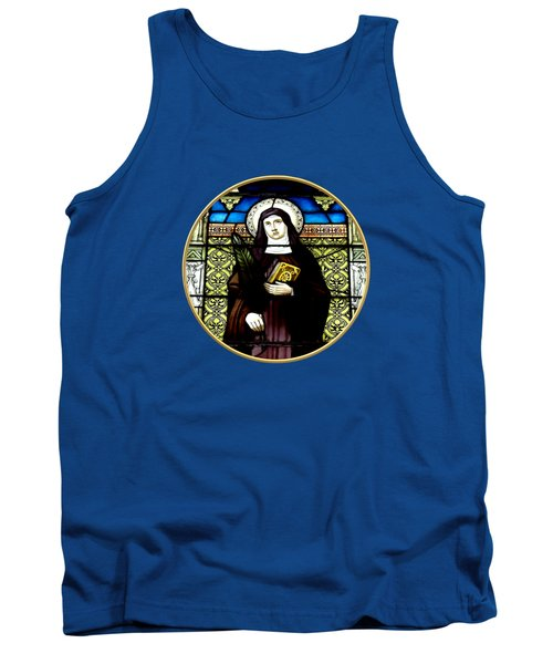 Saint Amelia Stained Glass Window In The Round Tank Top