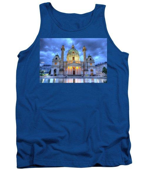 Saint Charles's Church At Karlsplatz In Vienna, Austria, Hdr Tank Top