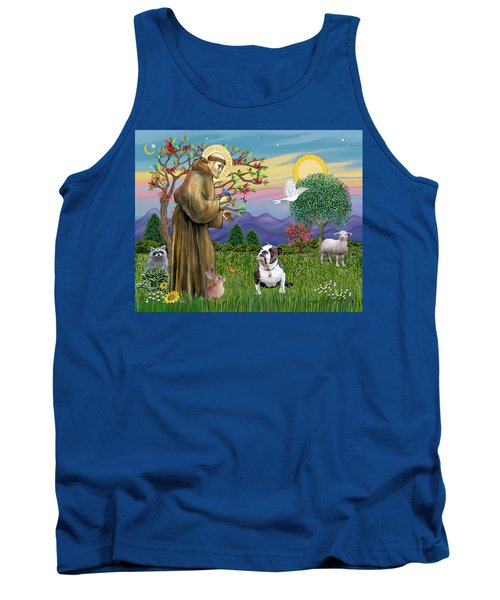 Saint Francis Blesses A Brown And White English Bulldog Tank Top