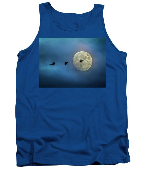 Sandhill Cranes With Full Moon Tank Top