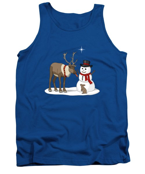 Santa Reindeer And Snowman Tank Top