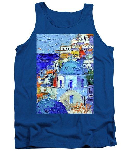 Santorini Blue Cupolas - Mini Cityscape 10 - Palette Knife Oil Painting Tank Top