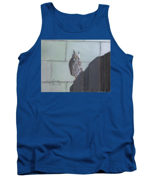 Screech Owl On Gate To Pergola Tank Top