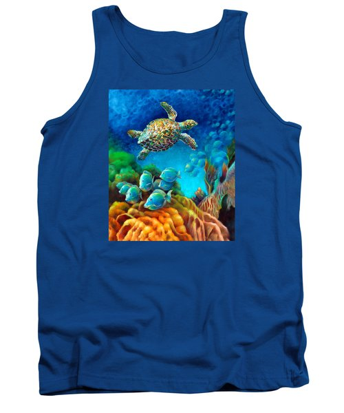 Tank Top featuring the painting Sea Escape IIi - Gemstone Hawksbill Turtle by Nancy Tilles