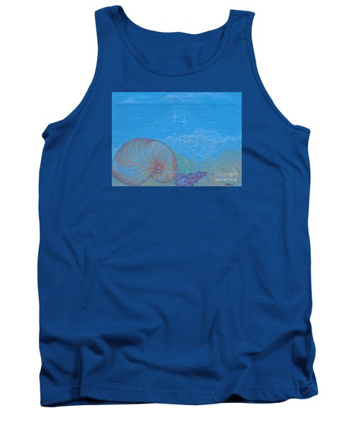 Tank Top featuring the drawing Sea Shore by Kim Sy Ok