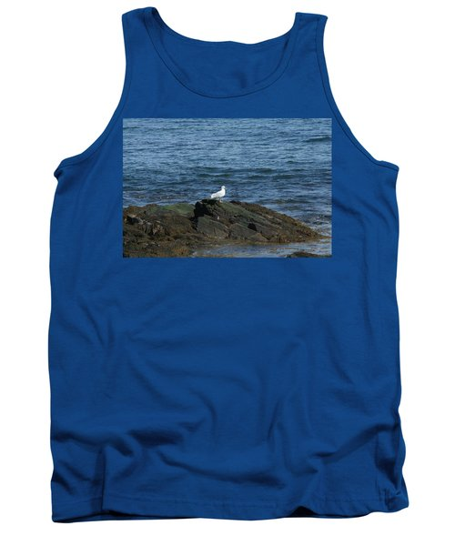 Tank Top featuring the digital art Seagull On The Rocks by Barbara S Nickerson