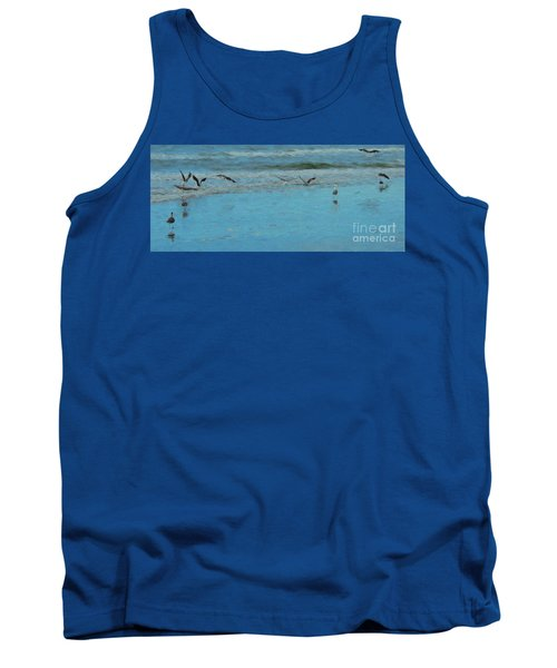 Seagulls At Myrtle Beach Tank Top by Mim White