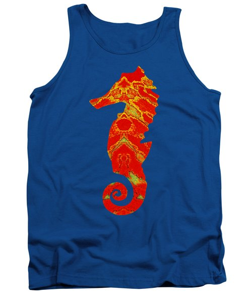 Seahorse Turquoise And Orange Left Facing Tank Top
