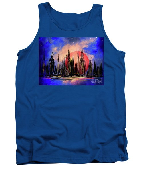 Tank Top featuring the drawing Seaport by Andrzej Szczerski