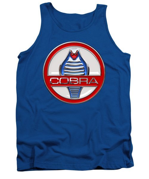 Shelby Ac Cobra - Original 3d Badge On Blue And White Tank Top by Serge Averbukh