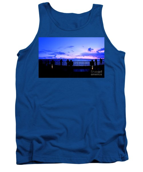 Tank Top featuring the photograph Silhouette Of People At Sunset by Yali Shi