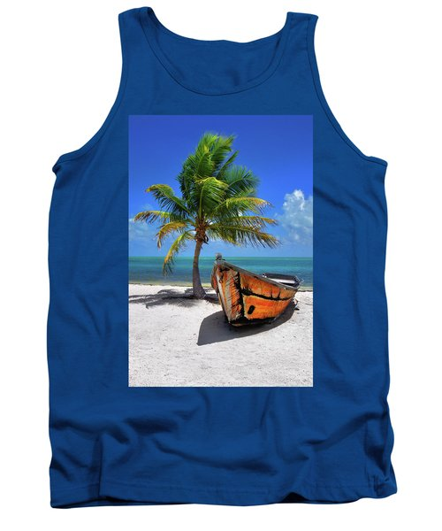 Small Boat And Palm Tree On White Sandy Beach In The Florida Keys Tank Top