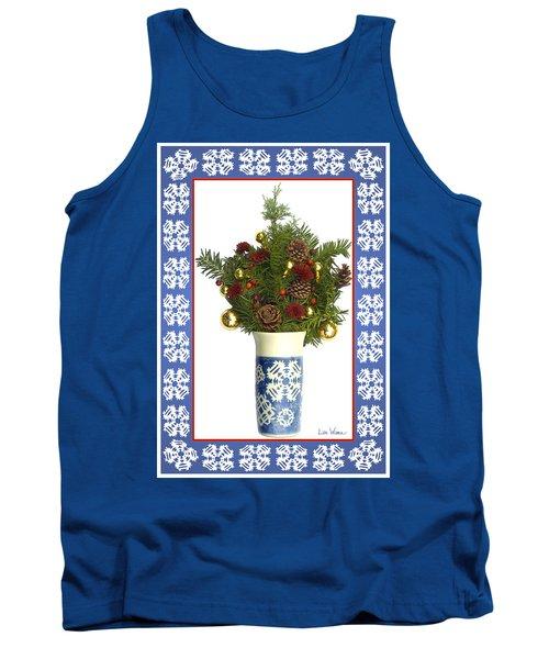 Tank Top featuring the digital art Snowflake Vase With Christmas Regalia by Lise Winne