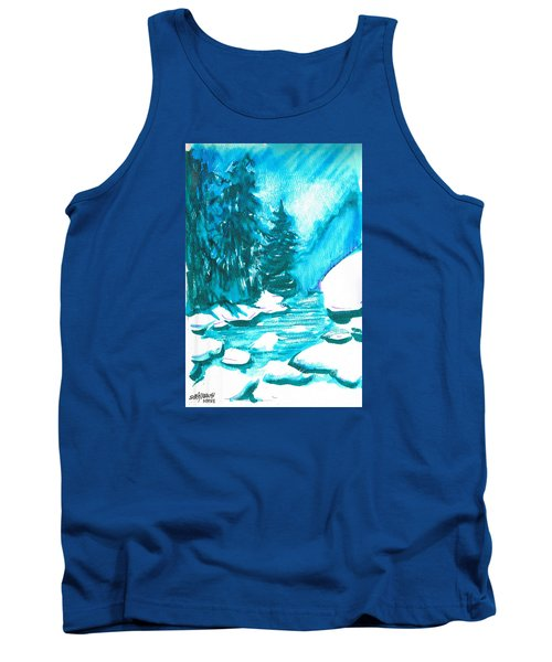 Tank Top featuring the mixed media Snowy Creek Banks by Seth Weaver