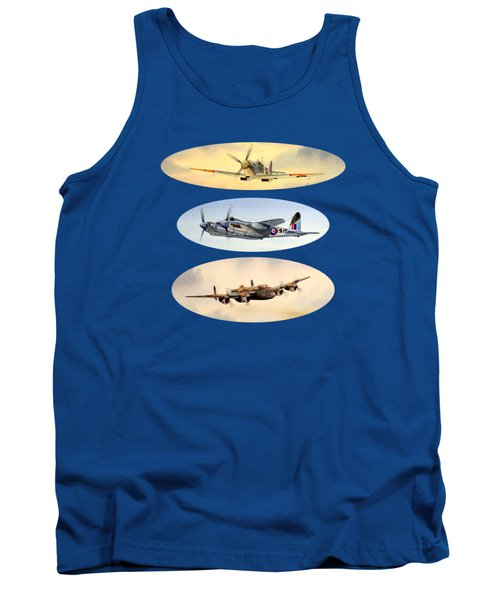 Tank Top featuring the painting Spitfire Mosquito Lancaster Collage by Bill Holkham