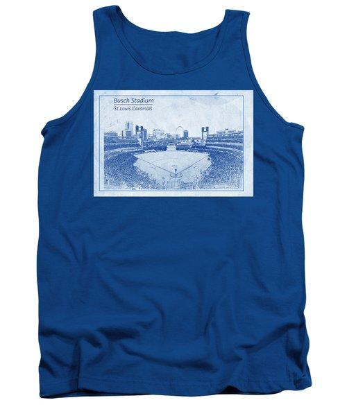 Tank Top featuring the photograph St. Louis Cardinals Busch Stadium Blueprint Words by David Haskett