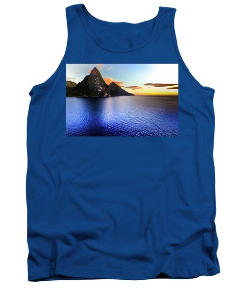 Tank Top featuring the photograph St. Lucia's Cobalt Blues by Karen Wiles