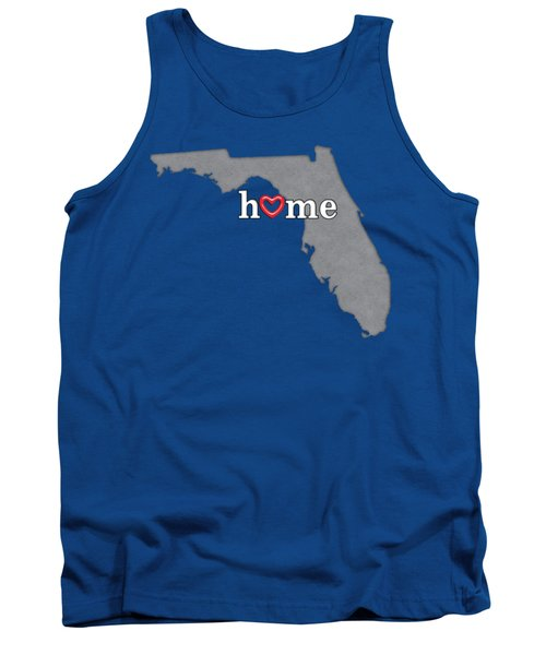 State Map Outline Florida With Heart In Home Tank Top by Elaine Plesser