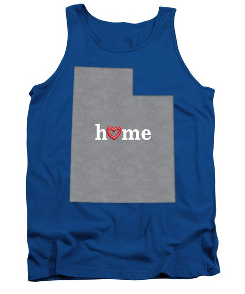 State Map Outline Utah With Heart In Home Tank Top