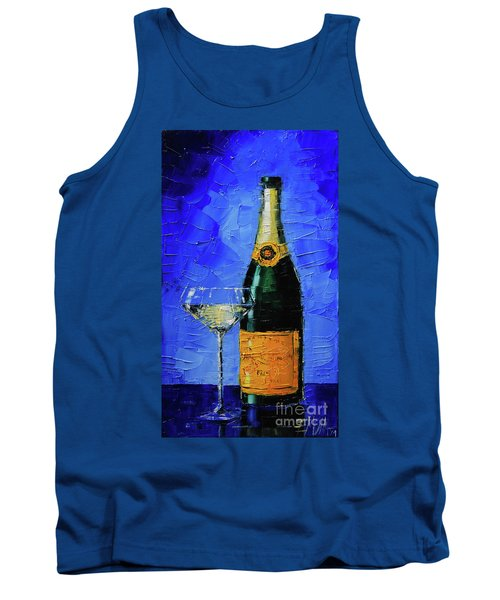 Still Life With Champagne Bottle And Glass Tank Top