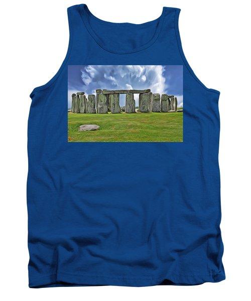 Tank Top featuring the digital art Stonehenge by Harry Warrick