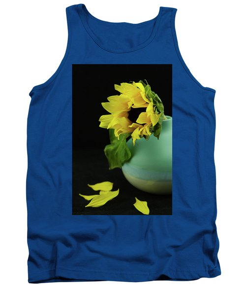 Sunflower In Blue Pottery Tank Top