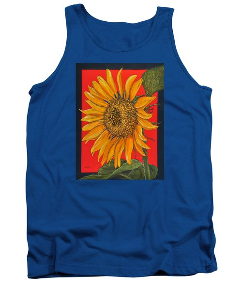 Da153 Sunflower On Red By Daniel Adams Tank Top