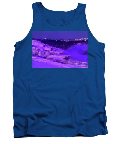 Sunrise And Moonset Over Minerva Springs Yellowstone National Park Tank Top