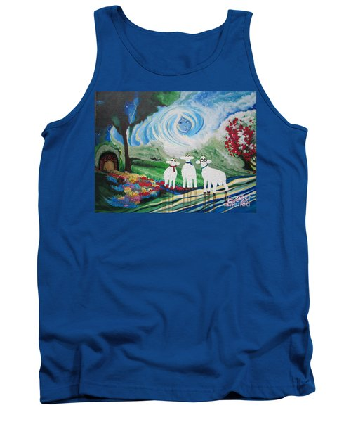 Tank Top featuring the painting Flying Lamb Productions        Sunrise Angel by Sigrid Tune
