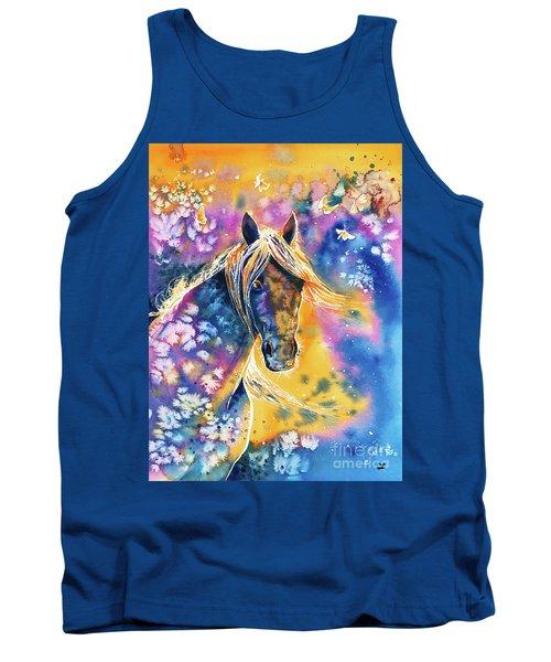 Tank Top featuring the painting Sunset Mustang by Zaira Dzhaubaeva