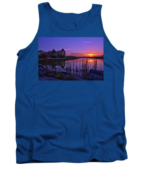 Tank Top featuring the photograph Sunset Over Hungryland Wildlife Management Area by Justin Kelefas