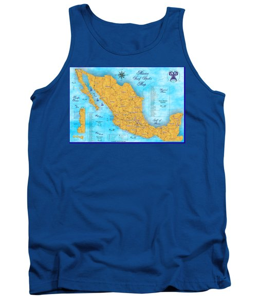 Mexico Surf Map  Tank Top by Lucan Hirales