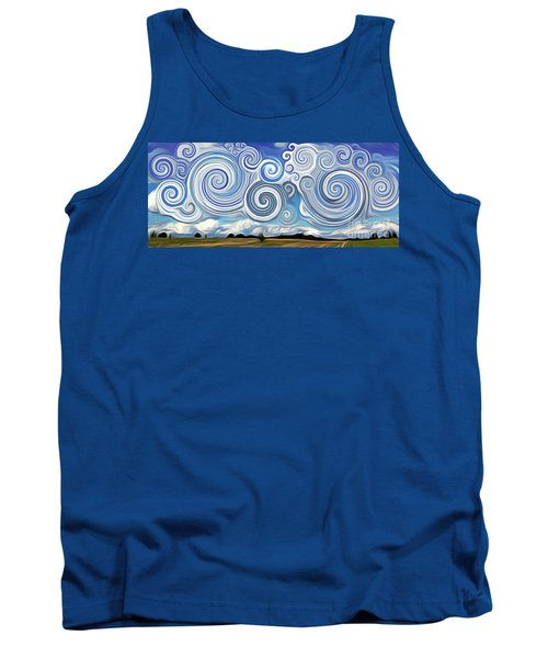 Tank Top featuring the digital art Surreal Cloud Blue by Lisa Arbitrary