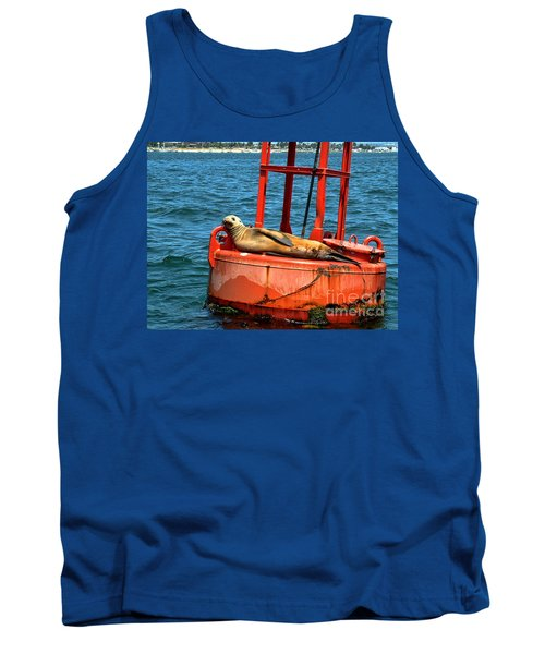 Tank Top featuring the photograph Tanning Sea Lion On Buoy by Mariola Bitner