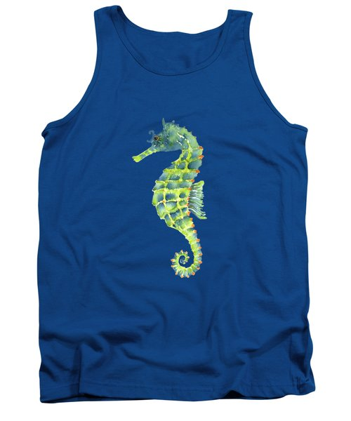 Teal Green Seahorse - Square Tank Top