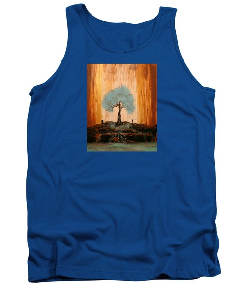 Teal Turquoise Tree Tank Top