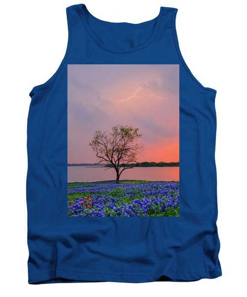 Texas Bluebonnets And Lightning Tank Top