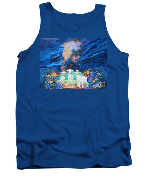 Tank Top featuring the painting Bright Brilliant Biblical Star Bursts  by Sigrid Tune