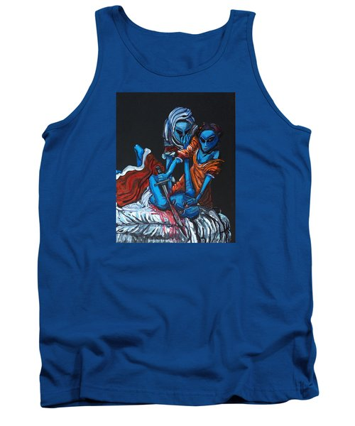 Tank Top featuring the painting The Alien Judith Beheading The Alien Holofernes by Similar Alien