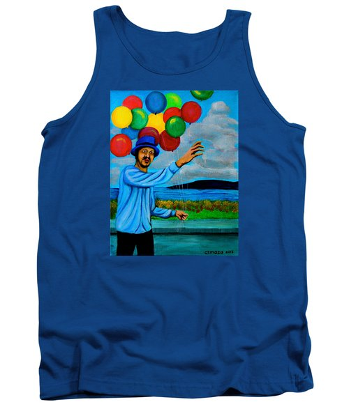Tank Top featuring the painting The Balloon Vendor by Cyril Maza