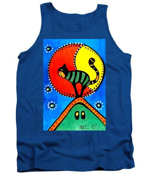 Tank Top featuring the painting The Cat And The Moon - Cat Art By Dora Hathazi Mendes by Dora Hathazi Mendes