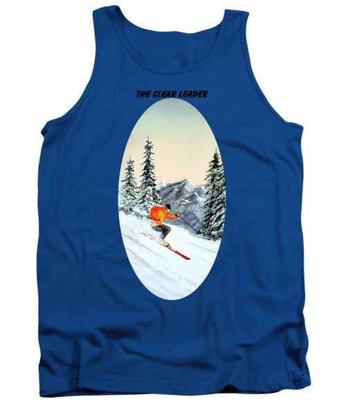 Tank Top featuring the painting The Clear Leader Skiing by Bill Holkham