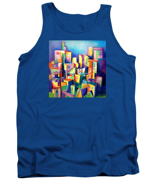 Tank Top featuring the painting The Houses by Kim Gauge