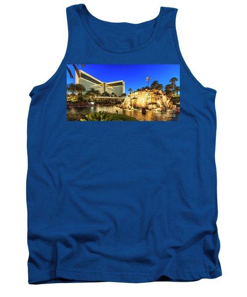 The Mirage Casino And Volcano At Dusk Tank Top by Aloha Art
