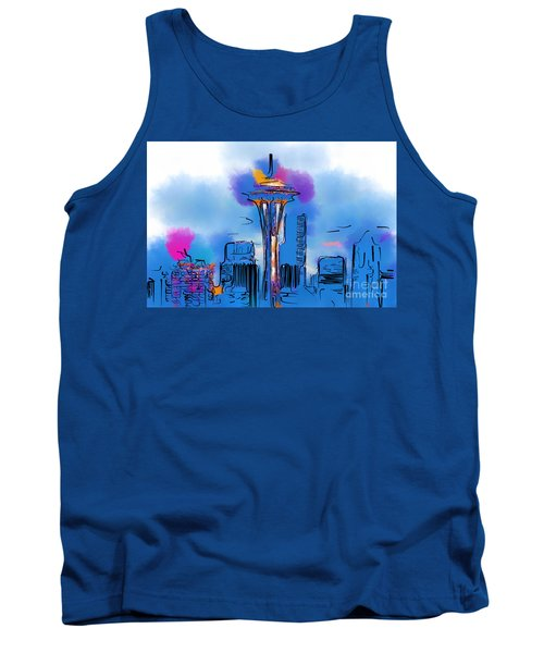 The Space Needle In Soft Abstract Tank Top
