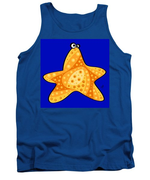 Tank Top featuring the painting Thoughts And Colors Series Starfish by Veronica Minozzi